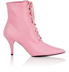 Calvin Klein Leather Lace-Up Ankle Boots In Rose Leather Lace Up Boots, Lace Up Booties, Lace Up Ankle Boots, Leather Ankle Boots, Ankle Booties, Pink Leather, Lace Up High Heels, High Heel Boots, Pink Boots
