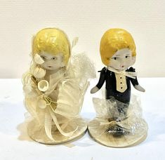 Vintage Bisque Dolls, Bride Groom Dolls, Girl Flowers, Boy in Tux, Original Package, Hand Painted, Cake Topper, 3 inches, Japan, Circa 1930s