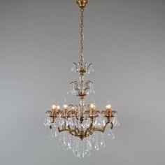 Lámpara de araña BAROCCO 8 antiguo - Hermoso candelabro tipo araña con un aspecto antiguo. Esta lámpara es amplio y muy decorativa con perlas lujosas de cristal de vidrio.