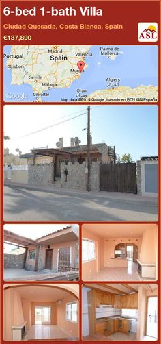 Villa for Sale in Ciudad Quesada, Alicante, Spain with 6 bedrooms, 1 bathroom - A Spanish Life Beautiful Villas, Beautiful Beaches, Famous Golf Courses, American Kitchen, Basement Flooring, Living Room With Fireplace, Medical Center, Alicante, Second Floor
