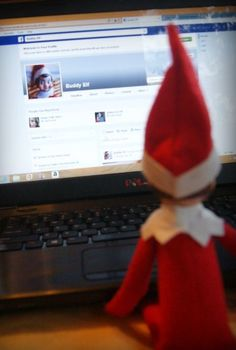 Elf On The Shelf Ideas, 2013 Christmas  Elf On The Shelf Ideas for kids, He is looking his facebook