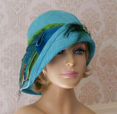 Gabby  Turquoise Cloche parasisal straw by LuminataCo on Etsy, $155.00