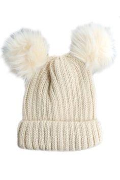 Double Fur Pom Pom Knit Beanie Hat - Biege c7df3dcc164