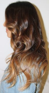 Brunette/auburn hair with chestnut/ombre hair with caramel tips