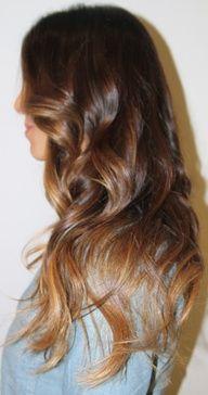 Brunette/auburn hair with chestnut/ombre hair with caramel tips