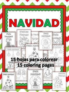 Feliz Navidad! This packet includes 15 coloring pages that you and your students will love! They include ¡Feliz Navidad! and ¡Felices Fiestas! They make beautiful decorations for home or your classroom.