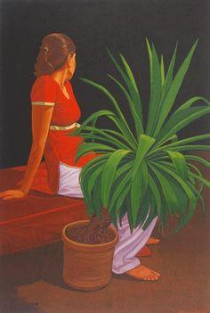 Sitting Woman Oil on Canvas by Ali Abbas Pakistani Artist. Size: 20 x 30 Figure Painting, Painting Art, Paintings, Oil On Canvas, Art Gallery, Artist Art, Figurative, Pakistani, Ali