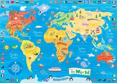 World Map Wall Canvas - Educational Toys & Homework - School World Map Canvas, World Map Wall, Childrens Wall Art, Art Wall Kids, Teaching Maps, World Map Printable, Kids World Map, Maps For Kids, Map Skills