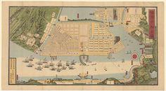 1868 Pictorial Map of Yokohama, Japan