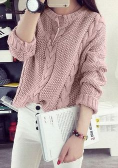 Women's Hand Knit V-Neck Sweater - Diy Crafts - Marecipe Winter Sweater Outfits, Casual Fall Outfits, Winter Sweaters, Winter Clothes, Crochet Shirt, Crochet Jacket, Hand Knitted Sweaters, Sweater Knitting Patterns, Knitting Sweaters