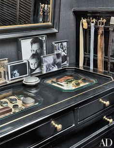 A large photograph of Kopelman with Olive—the elder of his and wife Drew Barrymore's two daughters—is displayed on the dressing room's chest of drawers; the vitrine trays store vintage Rolexes, cuff-link boxes, and small mementos. Le Closet, Closet Vanity, Dressing Room Closet, Master Closet, Dressing Rooms, Boys Closet, Closet Drawers, Dressing Area, Closet Vintage
