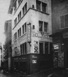 "Restaurant ""Meierei"" Spiegelgasse 1. (photo ± 1935)    On 5 February 1916 the Dadaists  opened the ""Cabaret Voltaire"" here (Hugo Ball read from Voltaire). It was an artists' café, the podium of which hosted many a performance by Dadaists and other experimentalists    On 5 February 1916 the Dadaists  opened the ""Cabaret Voltaire"" here (Hugo Ball read from Voltaire). It was an artists' café, the podium of which hosted many a performance by Dadaists and other experimentalists."