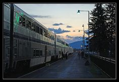 The Amtrack Empire Builder makes its station stop at Whitefish, Montana during sunrise in October. The next stop is West Glacier, 20 miles east of Whitefish and a gateway to Glacier National Park.