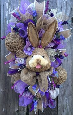 Reserved Bunny Wreath Easter Swag Spring Wreath by BaBamWreaths