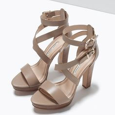Image 5 of WIDE HEEL LEATHER SANDAL from Zara