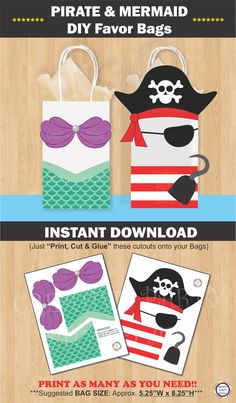 Mermaid and Pirate Party Favor Bags/ Mermaid Pirate Birthday Party ideas/ Little Mermaid Party theme decorations/ Mermai… – pool ideas Pirate Party Favors, Mermaid Party Favors, Party Favor Bags, Goodie Bags, Candy Bags, Gift Bags, Birthday Gifts For Girls, Boy Birthday Parties, Birthday Party Favors