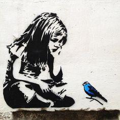 Banksy Girl with Blue Bird - Graffiti Street Art - Photo on .- Banksy Girl mit blauem Vogel – Graffiti Street Art – Foto auf Metall (Dibond Banksy Girl with Blue Bird Graffiti Street Art Photo on Metal (Dibond) - Banksy Graffiti, Street Art Banksy, Banksy Girl, Bird Street Art, Banksy Artwork, Bansky, Graffiti Quotes, Banksy Wall Art, Graffiti Girl