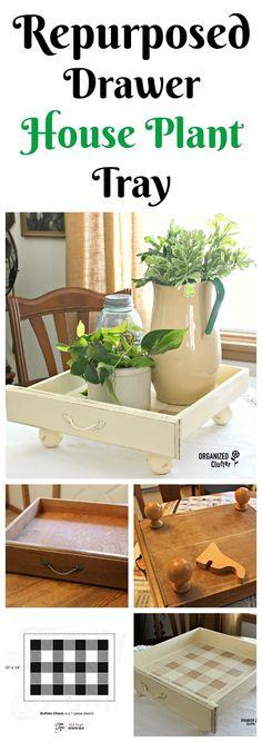 Repurposed Drawer House Plant Tray #repurpose #drawerrepurpose #stencil #buffalocheck #oldsignstencils #houseplants