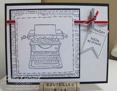 Adorable doodles!  Card made using the Tap Tap Tap stamp set from Stampin' Up! Featuring an adorable Vintage typewriter