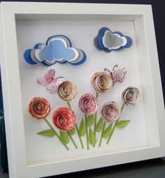 Custom Paper Origami Garden Scene with Roses, Butterflies, and Clouds Shadowbox Frame Gift by paintandpapercraft on Etsy