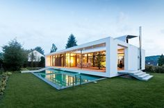 Elegant Contemporary House in Germany: Sensational C1 House Design Exterior With Modern Home Decoration Combined With Minimalist Inground Po...