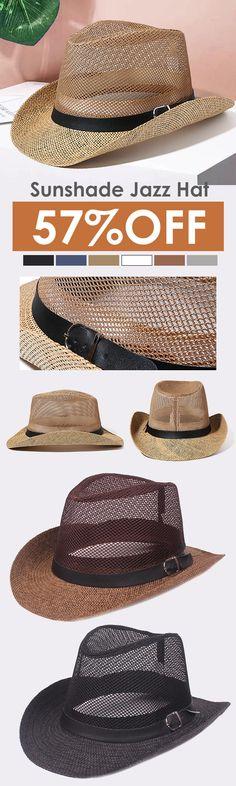 c64b296d2ae Men Outdoor Breathable Mesh Bowler Jazz Hat Cowboy Sunshade Straw Hat