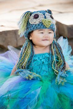 Blue green Owl Hat newborn size photography by thymeline on Etsy, $32.00  Image by Atlanta Photo Studio Thanks Carmen!