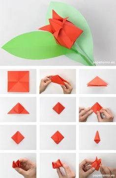 Como-hacer-tulipan-de-papel-origami-tulip-flowers