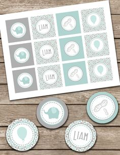 Liam Little Peanut Elephant PRINTABLE DIGITAL First Birthday Party Circles. Cupcake Toppers. 2 Inch. $10.00, via Etsy.