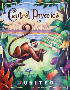 Original United Airlines Travel Poster Central America