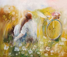 by Annet Loginova Love Painting, Painting & Drawing, Pictures To Draw, Art Pictures, Famous Contemporary Artists, Cute Paintings, Bicycle Art, Cute Wallpaper Backgrounds, Couple Art
