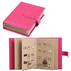 Jewelry Organizer Portable Earring Holder Travel Jewelry Case Pu Leather Earring Organizer with Foldable Book Design