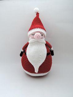 Resting Santa amigurumi Christmas crochet pattern by Ahookashop
