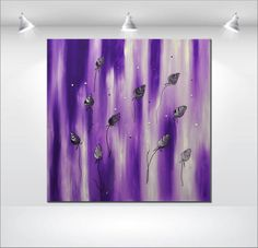 abstract painting purple violet acrylic flower by EttisGallery