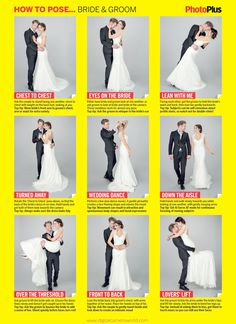 Take a look at the best wedding photography poses in the photos below and get ideas for your wedding! Free wedding poses cheat sheet: 9 classic pictures of the bride and groom Wedding Picture Poses, Wedding Poses, Wedding Photoshoot, Wedding Shoot, Wedding Couples, Wedding Dresses, Wedding Ideas, Party Wedding, Wedding Pictures