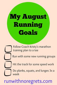 In my latest post, I'm reflecting on my goals from July and setting new running goals fo August!