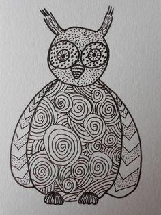 Whimsical owl illustration - Zentangle design - Doodle art - Black and white original drawing pen and ink  - Zendala art