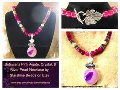 NEW from Starshine Beads - Bostwana Pink Agate, Crystal & River Pearl Necklace.  Handmade and one of a kind! You can Buy It Here -  https://www.etsy.com/listing/233881127/botswana-pink-agate-river-pearl-necklace?ref=shop_home_active_3  Starshine Beads ships world wide!  NEW Facebook, Google + and Twitter FANS RECEIVE A 10% DISCOUNT! Just add my Facebook page or follow me on Twitter or Google + and message me there to get your 10% off code!  Facebook - https://www.facebook.com/StarshineBeads…