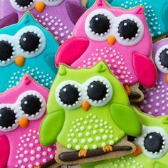 Buy Owl cookies by RuthBlack on PhotoDune. Array of colorful owl cookies Summer Cookies, Fancy Cookies, Iced Cookies, Cute Cookies, Royal Icing Cookies, Cupcake Cookies, Cookies Et Biscuits, Owl Sugar Cookies, Birthday Cookies
