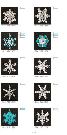 """Snowflakes 1/"""" Turquoise Embroidered Iron On Applique Patches SET OF TEN - 10"""