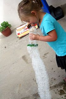 DIY Snake Bubbles. All you need is an empty bottle, wash cloth rubber band, dish soap and water
