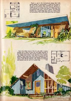 "Groovy rock and roof overhang on an 836 sq. foot 2 bedroom. From ""7 budget houses – from $6,700 to $9,700"" (1956)"