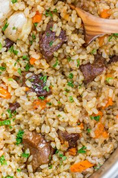 Making beef plov in an instant pot is so quick and easy and using brown rice is genius. This Instant Pot Rice recipe is a healthier, juicier and flavor packed version of beef plov. | natashaskitchen.com