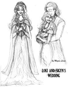 Loki and Sigyn's Wedding Sketchdump by MademoiselleMeg on deviantART