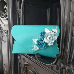 Teal clutch purse, Teal purse with roses, Wedding purse, Leather gift for her, Teal roses bag, Best gift for her, Leather anniversary bag
