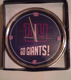 New York Football Giants Chrome Clock 12 Inch Diameter NFL