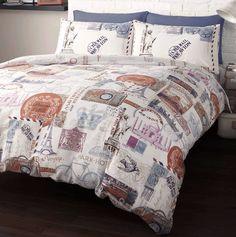 travel the world comforter sets | Around The World Stamps Travel Single Duvet Quilt Cover Bedding Set ...