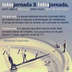 Você sabe a diferença entre os intervalos Interjornada e Intrajornada?  #DireitodoTrabalho #Interjornada #Intrajornada #Intervalos #Trabalho #Emprego  Fonte: Tribunal Superior do Trabalho
