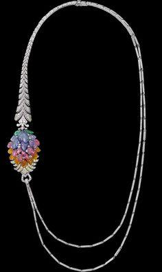 Indian Influences – High Jewelry Necklace Platinum, mandarin garnets, pink tourmalines, tanzanites, tsavorite garnets, yellow diamonds, bril...