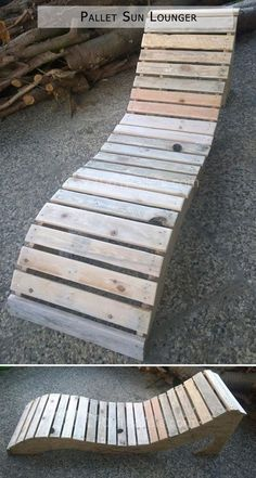 Sun Lounger from Pallets / SonnenliegeThanks for this post.A sun lounger made from pallet wood (slats) and a bottom plate. Uncertain I'm still on the coat! A sun lounger made from pallet scraps (slats) and a base plate. I# Lounger Pallet Crafts, Pallet Art, Diy Pallet Projects, Furniture Projects, Wood Projects, Woodworking Projects, Pallet Wood, Easy Projects, Furniture Design